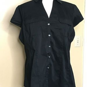 George Short Sleeve Button Down Black Top (16-18)